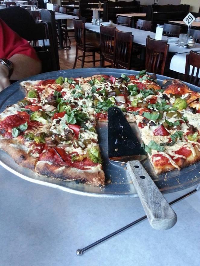 Vegan pizza from Crust in Dubuque