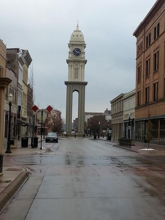 The clock tower in downtown Dubuque