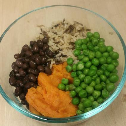 Black beans, peas, sweet potatoes, and wild rice