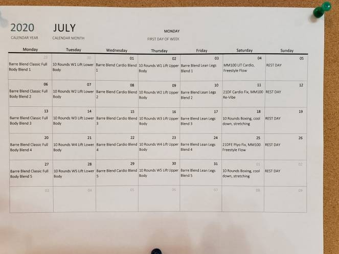 July 2020 workout schedule